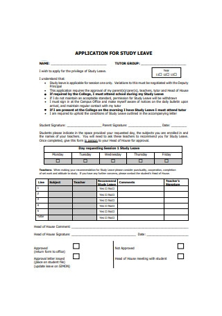 Application for Study Leave Sample