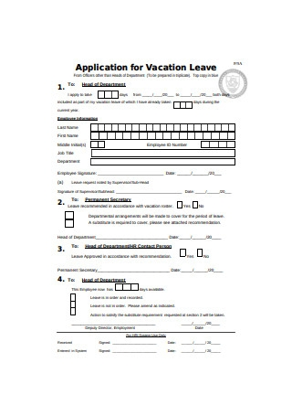 Application for Vacation Leave Format