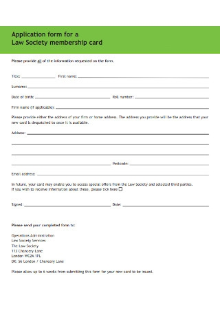 Application form for a Law Society Membership Card