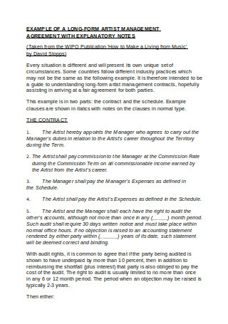 Artist Management Agreement Example