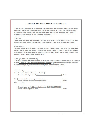 Artist Management Contract in Word