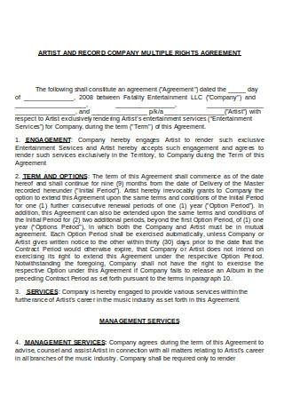 Artist and Record Company Agreement