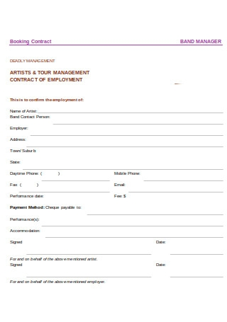 Artist and Tour Management Contract