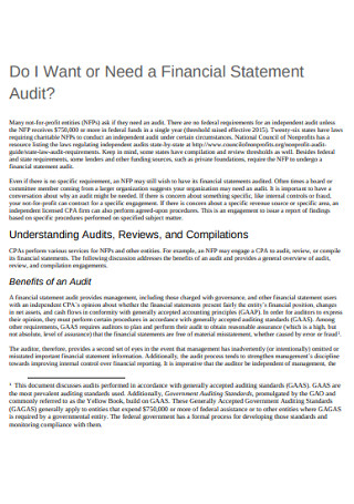 Audit Financial Statement of Need Template