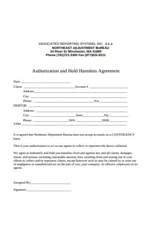 Authorization and Hold Harmless Agreement