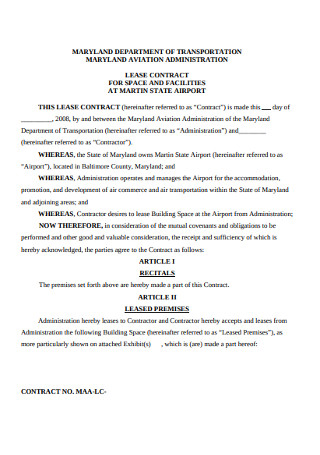 Aviation Administration Lease Contrract