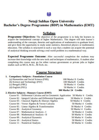 Bachelor's Degree Mathematics Syllabus