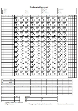 Baseball Scorecard Example