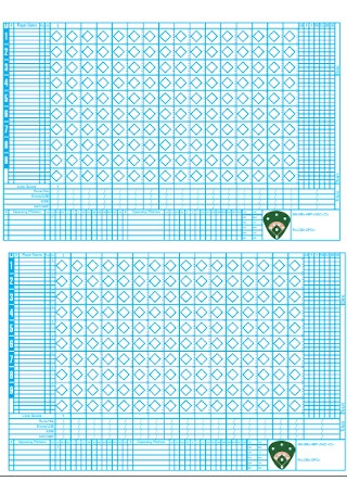 Baseball Scoresheets Sample