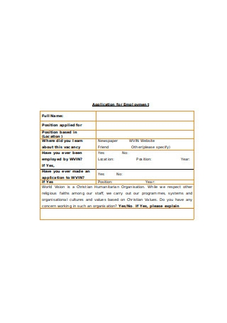 Basic Application Form for Employment
