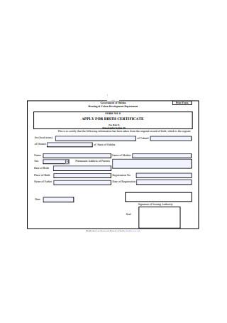 Basic Birth Certificate Format
