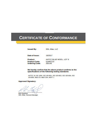Basic Certificate of Conformance Format