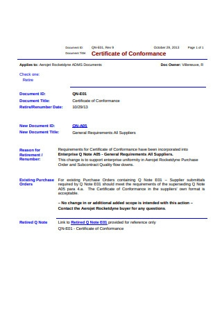 Basic Certificate of Conformance Requirements