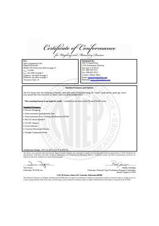 Basic Certificate of Conformance