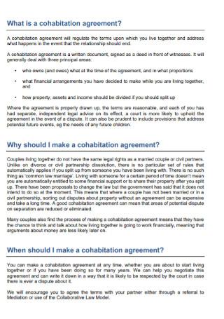Basic Cohabitation Agreement