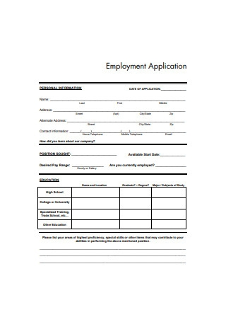 Basic Employment Application Form