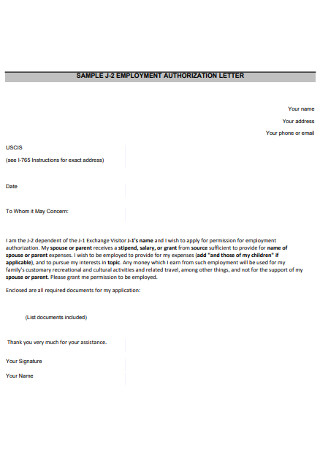 Basic Employment Authorization Letter