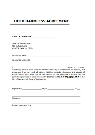 Basic Hold Harmless Agreement Example