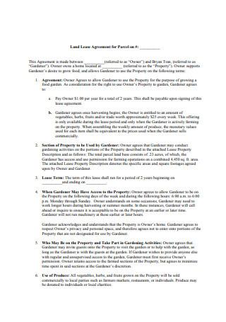 Basic Land Lease Agreement Sample