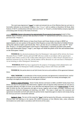 Basic Land Lease Agreement