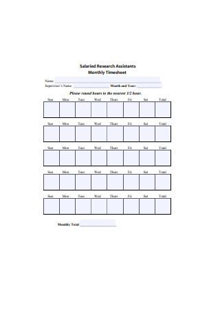 Basic Monthly Timesheet Sample