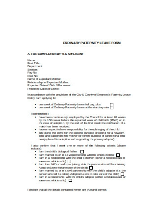 Basic Paternity Leave Form