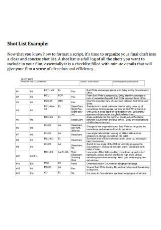Basic Shot List Example