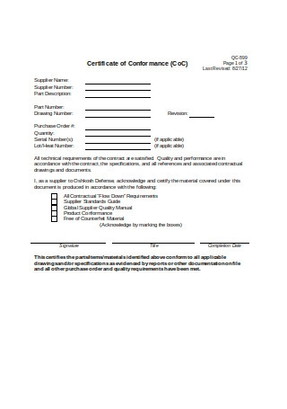 Basic Supplier Certificate of Conformance