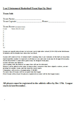 Basketball Team Sign Up Sheet