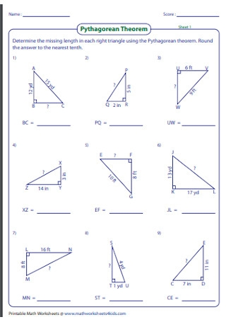 Best Pythagorean Theorem Worksheet