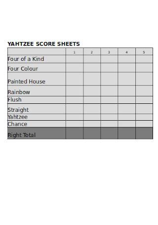 Best Yahtzee Score Sheets