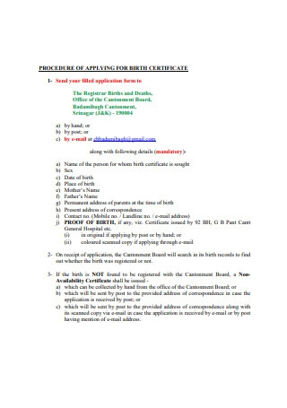 Birth Certificate Procedure