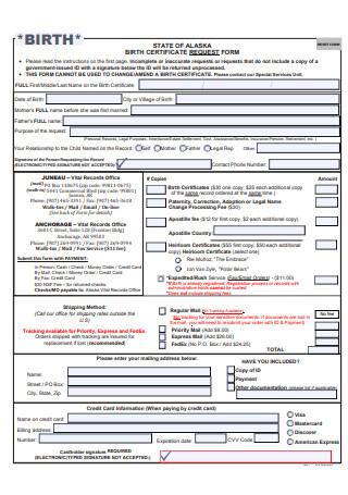 Birth Certificate Request Form Sample