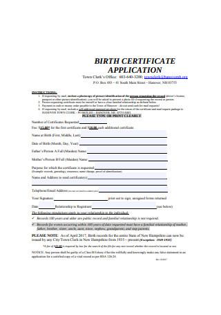 Birth Certificate Request Form