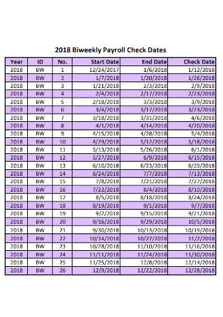 Biweekly Payroll Check Dates Templates