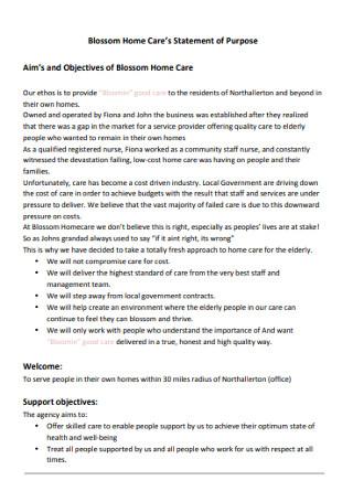 Blossom Home Care's Statement of Purpose