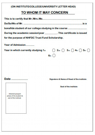 Bonafied Certificate Format