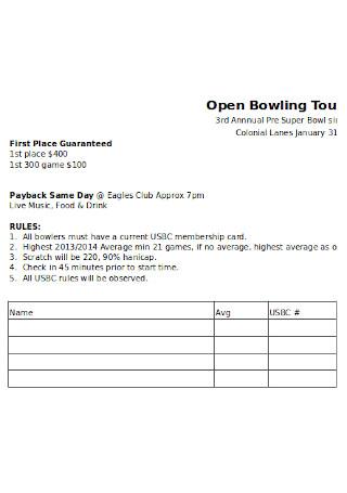 Bowling Sign Up Sheet