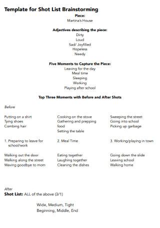 Brainstorming Shot List fot Template