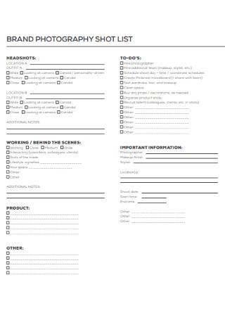 Brand Photography Short List Template