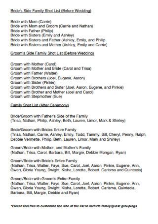 Bride's Side Family Shot List