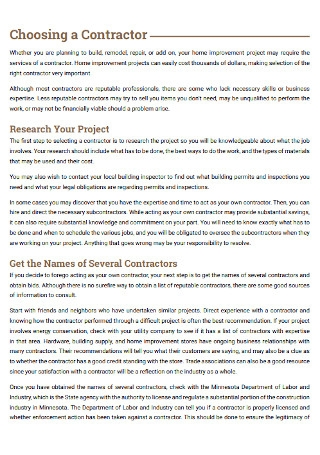 Buildiing Remodeling Contract