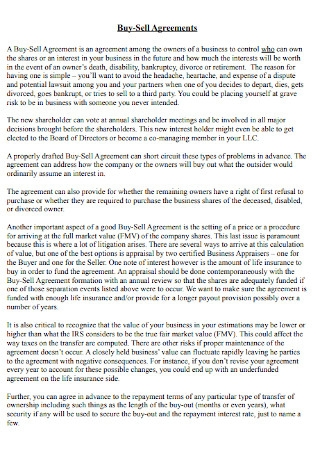 Business Buy Sell Agreement Template