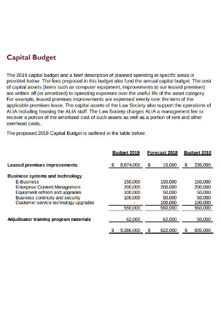 Business Capitsl Budget Example