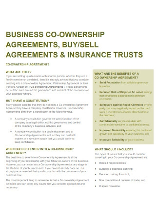 Business Co Ownership Agreement Template