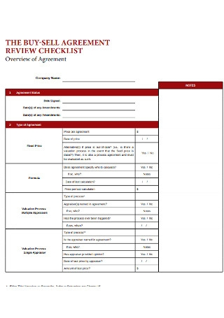 Buy Sell Agreement Checklist Template