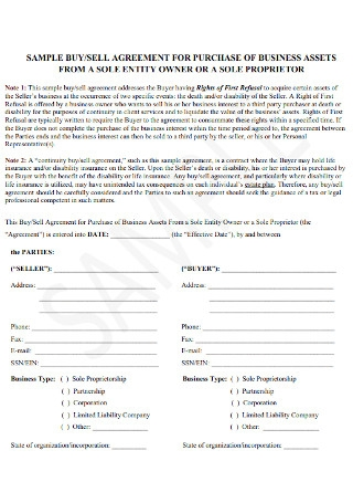 Buy Sell Agreement for Purchase of business Assest Template