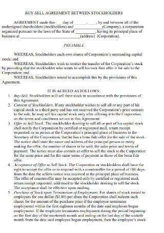 Buy Sell Agreement for Shareholders Templates