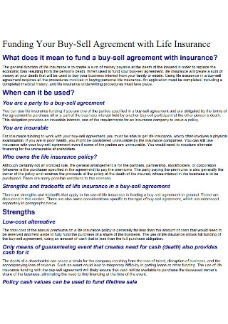Buy Sell Agreement with Life Insurance Template
