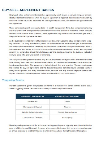 Buy Sell Agreements for Wealth Management Firms